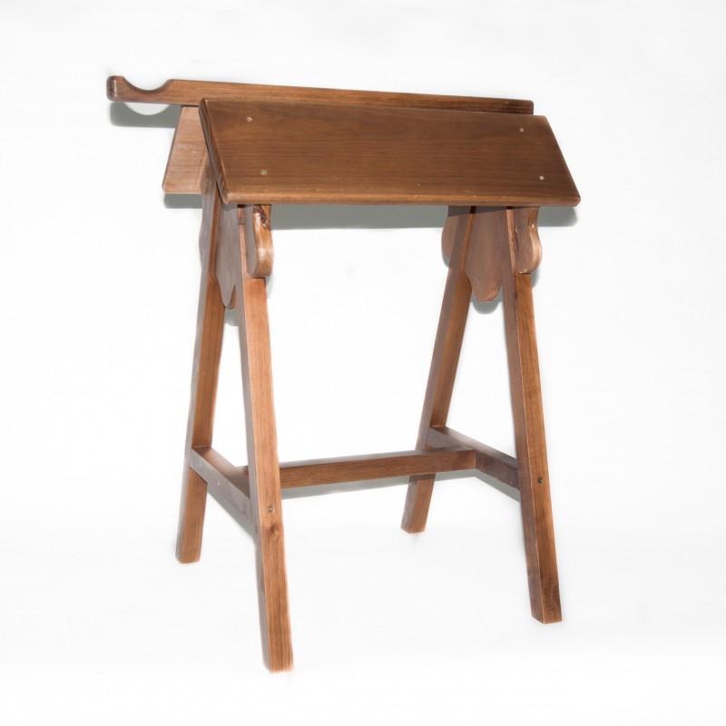 Monturero madera barnizada de pie con cuelgacabezada